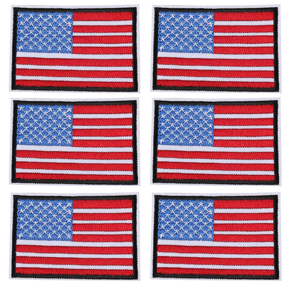 6 PCS USA Flag Patches Embroidered Appliques with Black Border Iron On Sew On Stickers United States of America Logo Badge for Hats,Bags,Shoes