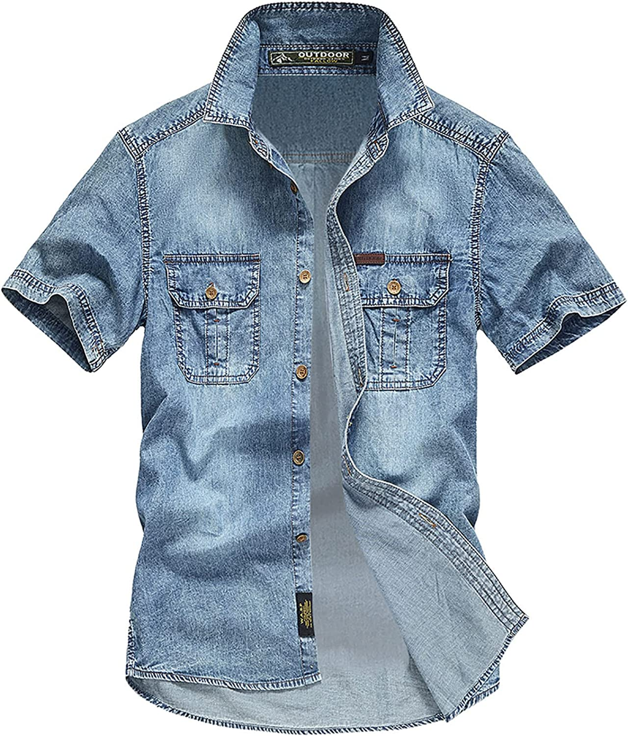 FUNEY Men's Regular-fit Long Sleeve Denim Button Down Shirts Casual Washed Workout Western Shirts with Multi-Pockets