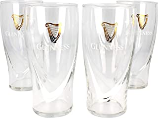 Guinness Gravity 20 Ounce Embossed Pint Beer Glasses with Harp -4 Pack