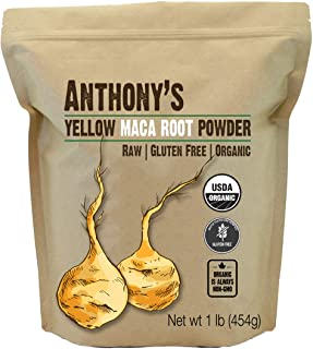 Anthony's Organic Yellow Maca Root Powder, 1 lb, Raw, Gluten Free, Non GMO, Non Gelatinized
