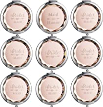 9 Sets Makeup Pocket Compact Mirror, 1 Bride Makeup Mirror 1 Maid Honor 7 Brides Maid, Wedding Bridesmaid Gifts-Double Magnifying Mirror For Bridal Party,Gold Diamond Cutting Style Pocket Mirror