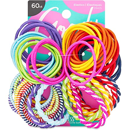 Goody Ouchless Assorted Elastics Hair Ties - 60 Count, Assorted In Brights and Pastels- Perfect for Girls with Fine, Curly Hair and Sensitive Scalps - Pain Free Hair Accessories for Women
