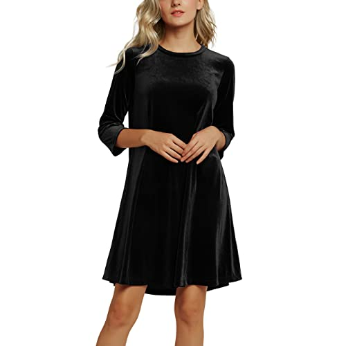 a4ce1c671f58 Urban CoCo Women s Velvet Party Dress 3 4 Sleeve Cocktail Dress