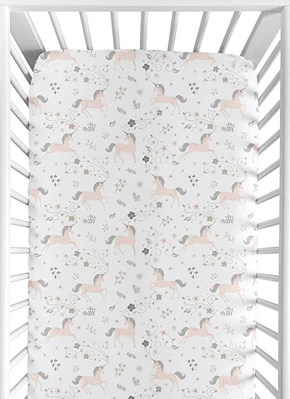 Sweet JoJo Designs Pink Grey And Gold Baby Or Toddler Fitted Crib Sheet For Unicorn Collection
