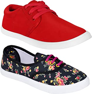 WORLD WEAR FOOTWEAR Women Multicolour Latest Collection Sneakers Shoes-Pack of 2 (Combo-(2)-611-1062)