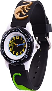 Wolfteeth Analog Grade School Toddler Kids Wrist Watch with Second Hand 3D Dinosaur Strap White Dial Water Resistant Boy Wrist Watch 3059