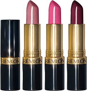 Revlon Super Lustrous Lipstick, 3 Piece High Impact Moisturizing Lipcolor Gift Set, Cream Finish in Pink Plum & Berry, Pac...