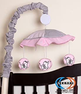 GEENNY Musical Mobile, Pink/Gray Elephant