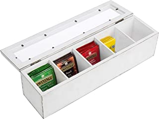 MyGift 5-Slot Vintage White Wood Tea Bag Storage Box with Clear Magnetic Lid