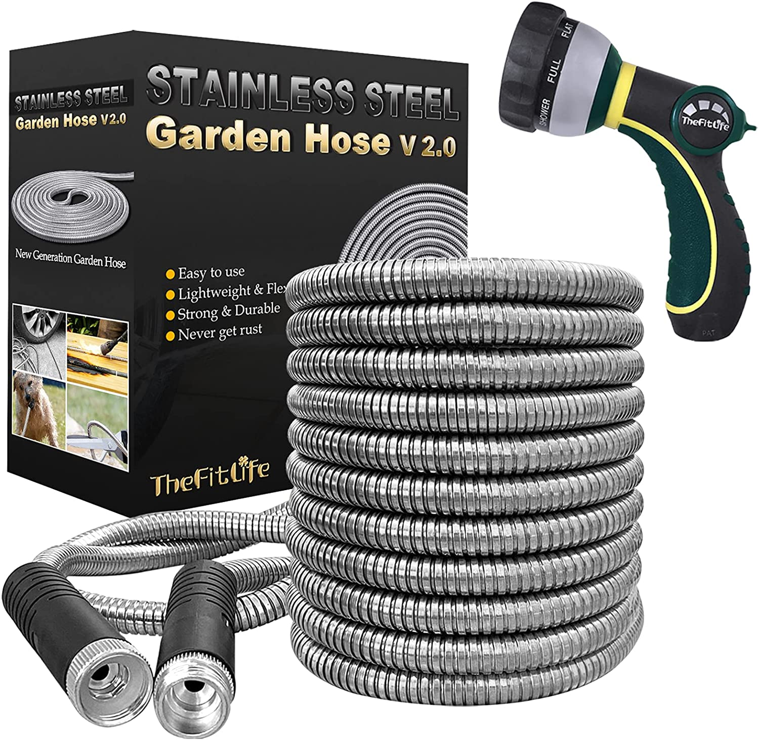 TheFitLife Flexible Metal Garden Hose - Upgrade Leak and Fray Resistant Design, Stainless Steel Water Hose with Solid Fittings and Sprayer Nozzle, Lightweight Kink Free Durable Easy Storage (50 FT)