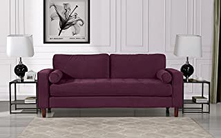Mid Century Modern Velvet Fabric Sofa, Couch with Bolster Pillows (Purple)