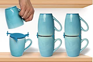 ELYPRO Coffee Mug Organizers and Storage, Kitchen Cabinet Shelf Organizer - Cupboard and Pantry Organization, Expandable Stackable Gadget for Tea Cup and Coffee Mugs, Save Space, Organize, 6pk, Blue
