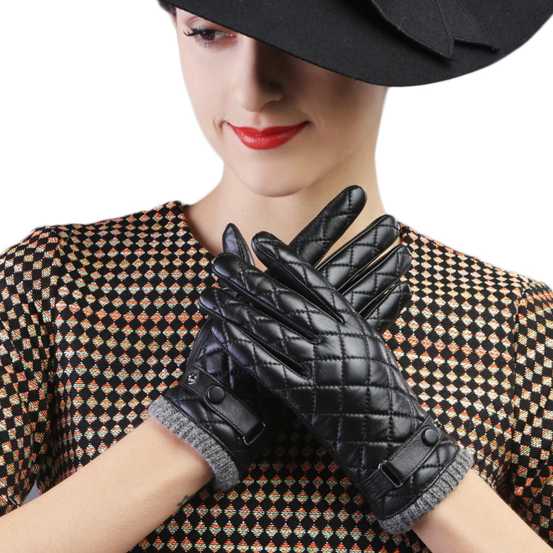 Mandy's Women's Fall Winter Genuine Nappa Leather Plaid Wool Wrist Driving Gloves