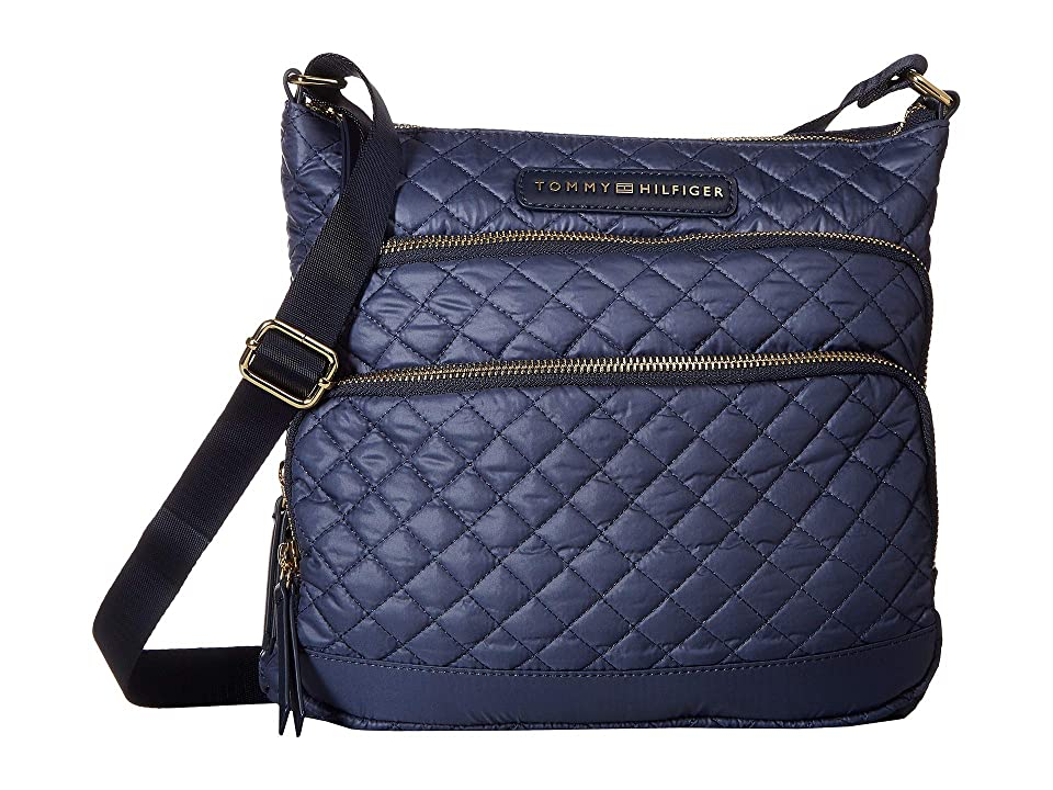 Tommy Hilfiger Alva Large North/South Crossbody Quilted Nylon (Indigo) Cross Body Handbags