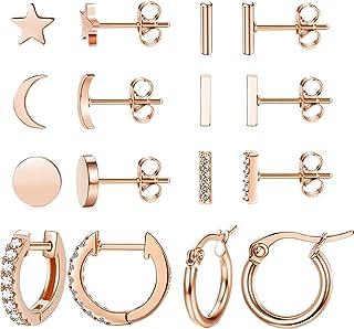 LOLIAS 8 Pairs Tiny Stud Earrings for Women Men Cute Bar Star Moon CZ Cartilage Helix Ear Piercing Earring Sets