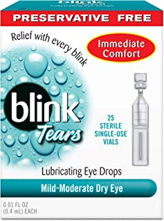 Blink Tears Sterile Single Use Vials, 25 Count, 0.01 Fluid Ounce Each