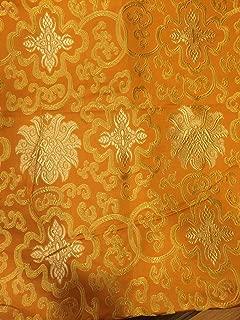 Tibetan Buddhist Traditional Orange Lotus Design Silk Brocade/Fabrics/Fabric Cloth/from Nepal