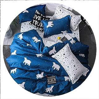 retro store Home Textile Cyan Cute Cat Kitty Duvet Cover Pillow Case Bed Sheet Boy Kid Teen Girl Bedding Linens Set King Queen Twin,3,Full Cover 180X220cm,Flat Bed Sheet