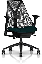 Herman Miller Sayl Ergonomic Office Chair with Tilt Limiter and Carpet Casters   Stationary Seat Depth and Arms   Black Frame with Aquamarine Crepe Seat