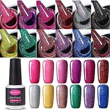Set de esmalte de uñas de gel CLAVUZ; 12 unidades, multicolores, secado con lámpara LED o UV, 8 ml: Amazon.es: Belleza