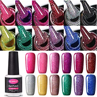 Set de esmalte de uñas de gel CLAVUZ; 12 unidades multicolores secado con lámpara LED o UV 8ml
