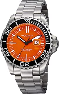 Akribos XXIV Men's Quartz Movement Watch - Colored Glossy Dial with Date Window On Stainless Steel Bracelet - AK735