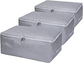 DOKEHOM 3-Pieces Large Under Bed Storage Bag, Thick Ultra Size Fabric Clothes Bag, Moisture Proof (Grey/L, Set of 3)