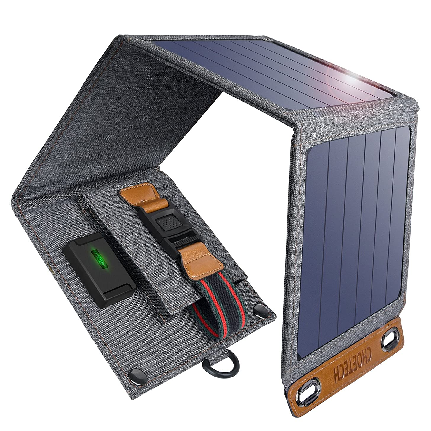 CHOETECH Solar Charger, 14W Solar Panel Phone Charger Waterproof Foldable Camping Charger Compatible iPhone Xs Max/XS/X/8, Galaxy S10/S10+, Other Smartphones, iPad, Camera, Bluetooth Speaker and More