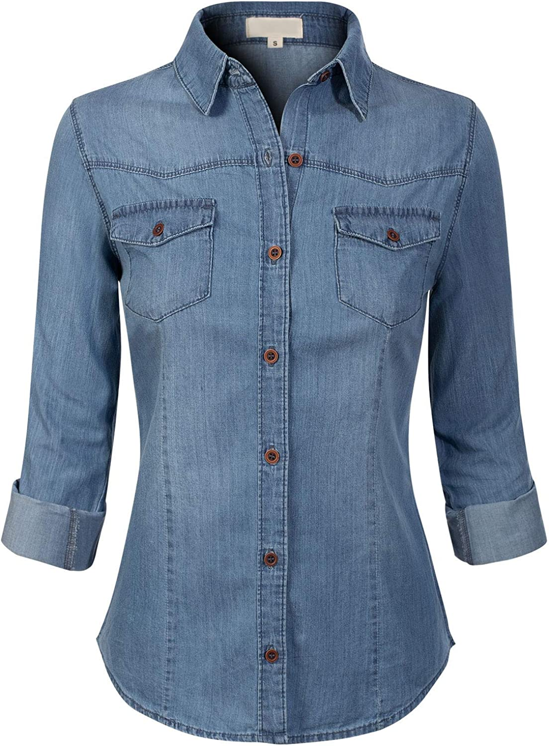 Design by Olivia Women's Roll up Sleeve Button Down Chambray Denim Shirt (S-3XL)