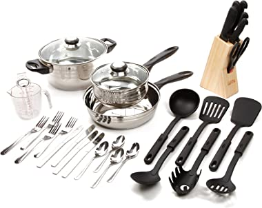 Gibson Value 89117.32 Lybra 32 Piece Cookware Combo Set, Mirror Polished Stainless Steel,Silver