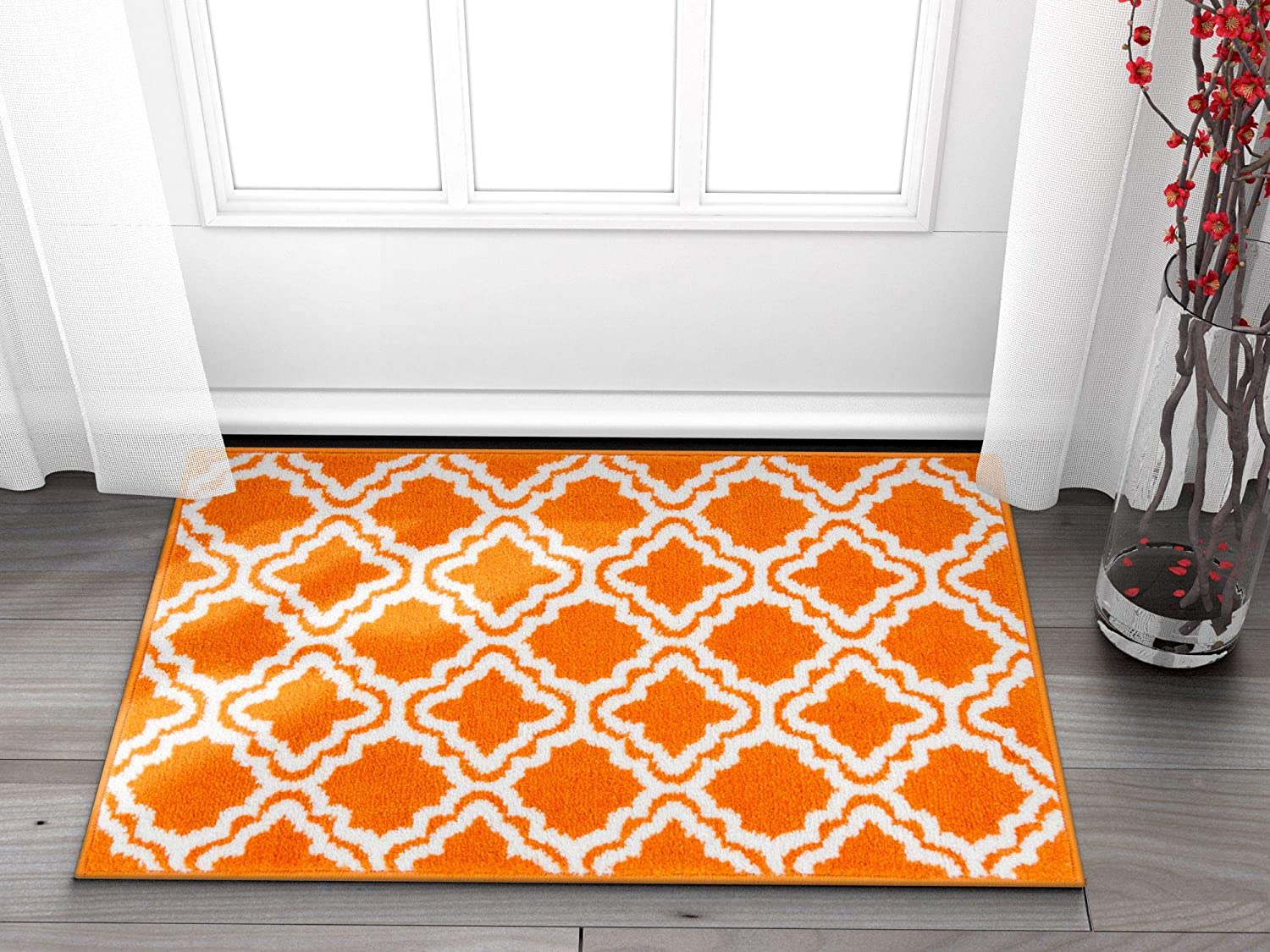 Well Woven Small Rug Mat Doormat Modern Kids Room Kitchen Rug Calipso orange 1'8  x 2'7  Lattice Trellis Accent Area Rug Entry Way Bright Carpet Bathroom Soft Durable