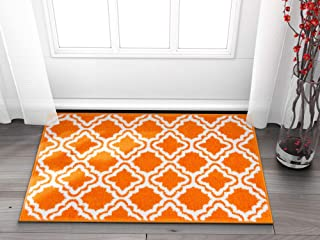 "Well Woven Small Rug Mat Doormat Modern Kids Room Kitchen Rug Calipso Orange 1'8"" x 2'7"" Lattice Trellis Accent Area Rug Entry Way Bright Carpet Bathroom Soft Durable"