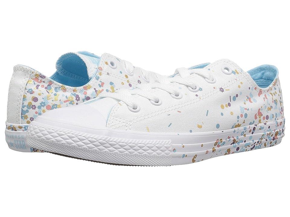 Converse Kids Chuck Taylor(r) All Star(r) Confetti Ox (Little Kid/Big Kid) (White/Cyan Tint/White) Girl