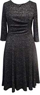 Sandra Darren Women's 3/4 Sleeve All Over Metallic Knit Midi Dress