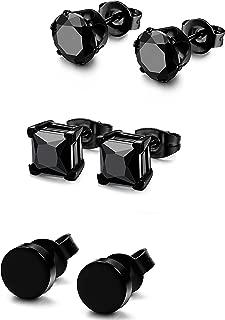 3 Pairs Stainless Steel Black Stud Earrings for Men Women CZ Earrings, 3mm-8mm Available