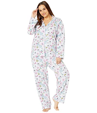 BedHead Pajamas Long Sleeve Classic Notch Collar Pajama Set (Cotton Spandex) (Florist) Women