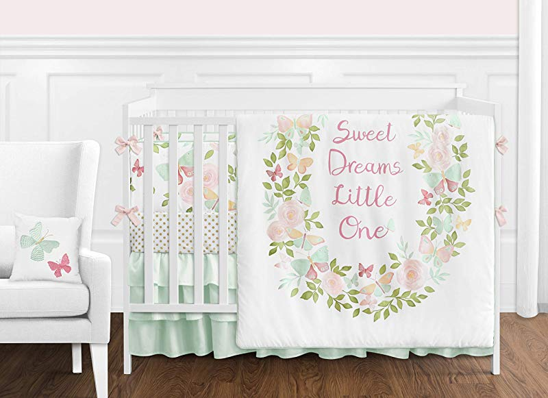 Sweet Jojo Designs Blush Pink Mint And White Shabby Chic Butterfly Floral Baby Girl Crib Bedding Set With Bumper 9 Pieces Watercolor Rose