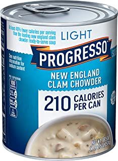 Progresso Light, New England Clam Chowder Soup, Low Fat, Gluten Free, 6 Cans, 18.5 oz