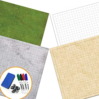 """RPG Battle Game Mat - 2 Pack Dry Erase Double Sided 36"""" x 24"""" (4 Terrains) + 4 Dry Erase Markers + 1 Eraser + 7pc Polyhedral Dice Set - Large Table Top Role Playing Map for Starters and Masters"""