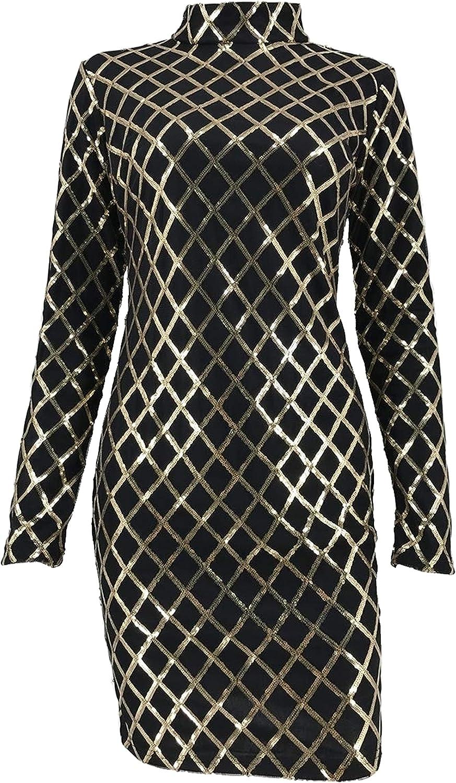 Long Sleeve Slim Plaid Sequins Dress for Women