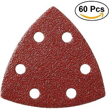 OxoxO Lot de patins abrasifs triangulaires 80/mm pour pon/çage Grain 40/En oxyde daluminium Sans trous Fixation auto-agrippante
