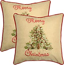 Grelucgo Ribbon Embroidered Holly Tree Cushion Covers, Christmas Holiday Throw Pillow Case Cover, Square 18 x18 Inch, Set of 2
