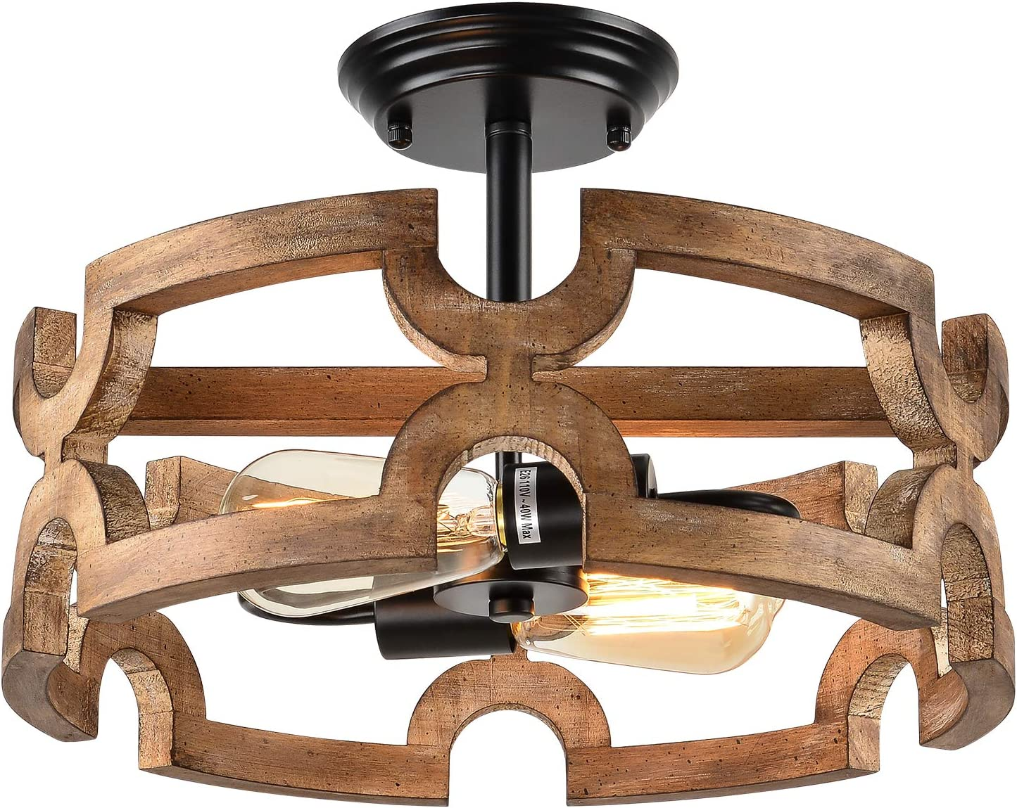 Bribyit 2-Light Farmhouse Wood Max 63% OFF Drum Chandeliers for Rooms Award Dining