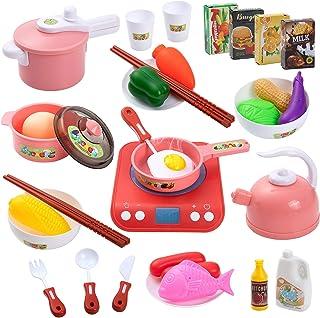 Czemo Set Cucina Bambini, Set di Pentole Finto Set da Cucina con Fornello a Iinduzione, Utensili da Cucina, Verdura, Acces...