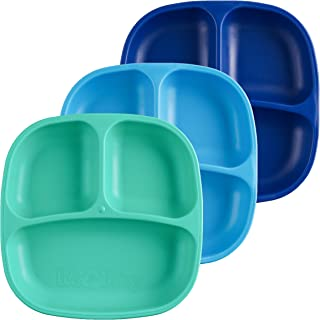 Re-Play Made in USA 3pk Divided Plates with Deep Sides for Easy Baby, Toddler, Child Feeding - Sky Blue, Aqua & Navy Blue...