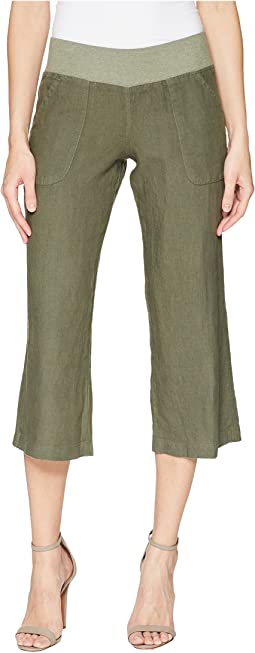 Crop Linen Pant Rib Waist