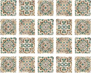 Poromoro Spanish Portuguese Azulejo Style Peel and Stick Tile Stickers Set of 20/30/40 pcs (3.9, R)