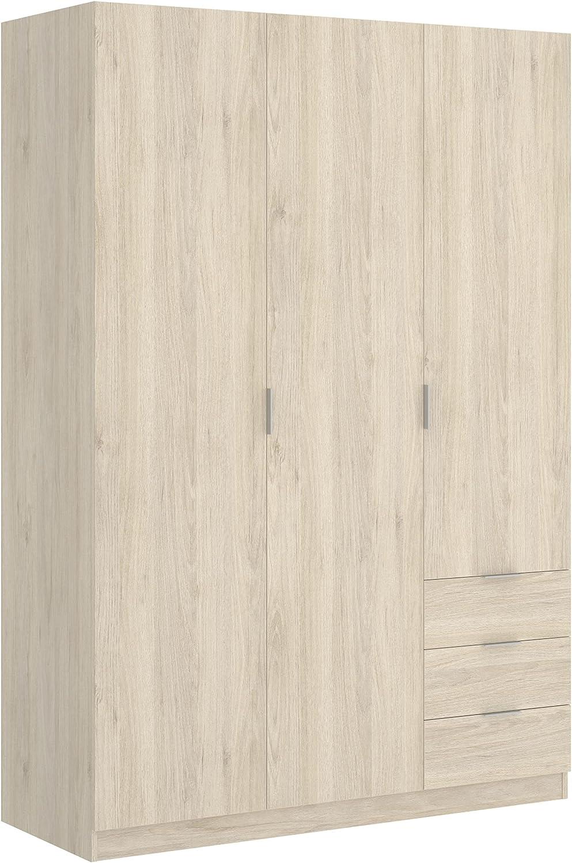 Armario de Tres Puertas batientes y Tres cajones Essen 184x121x52 cm (Natural)