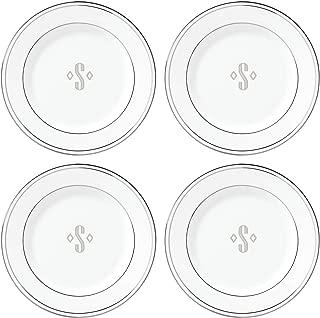 Lenox Federal Platinum Block Monogram Dinnerware Tidbit Plates, Set of 4, S