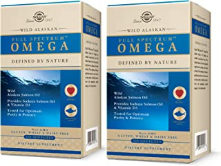 Solgar Wild Alaskan Full Spectrum Omega, 120 Softgels - Pack of 2 - Supports Heart, Brain, Bone and Skin Health - Provides...